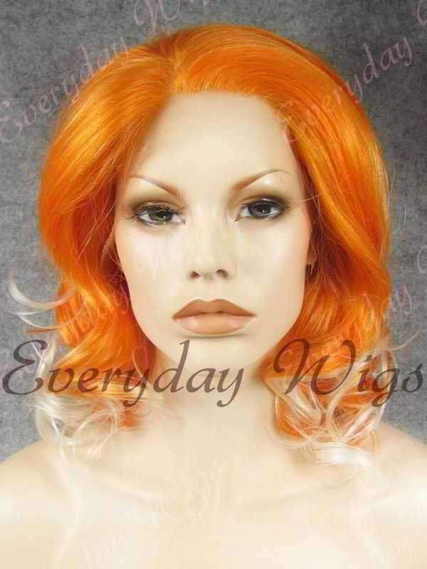 "14"" Shoulder Length Orange Ombre Wavy Synthetic Lace Front Wig- edw323"