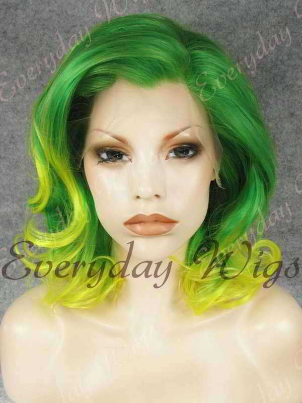 "14"" Shoulder Length Green Ombre Wavy Synthetic Lace Front Wig- edw324"