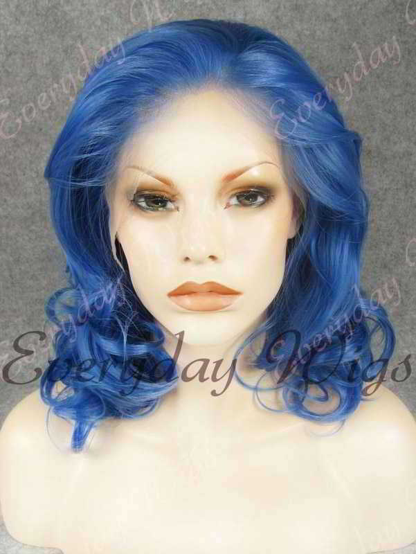 "14"" Shoulder Length Blue Wavy Synthetic Lace Front Wig- edw325"