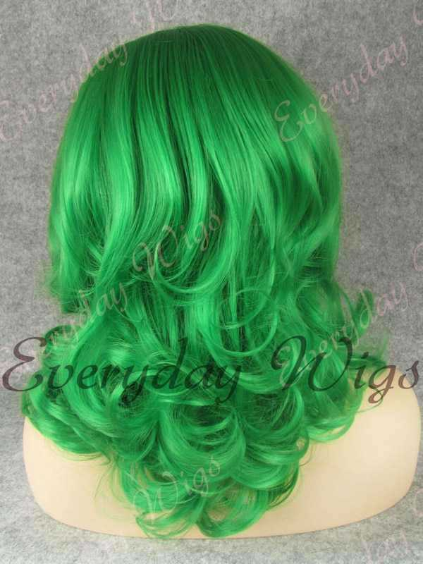 "16"" Shoulder Length Green Wavy Synthetic Lace Front Wig- edw326"