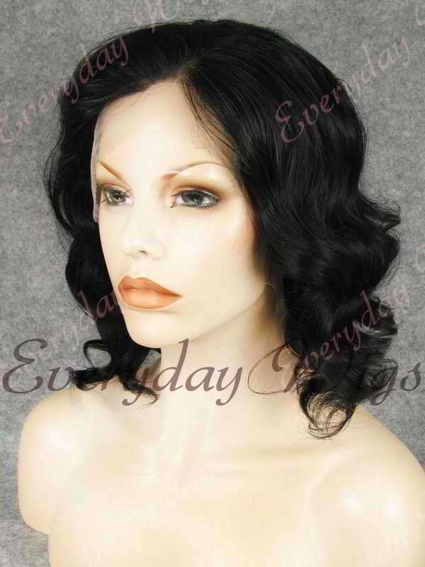 "14"" Shoulder Length Water Wave Jet Black Synthetic Lace Front Wig- edw327"