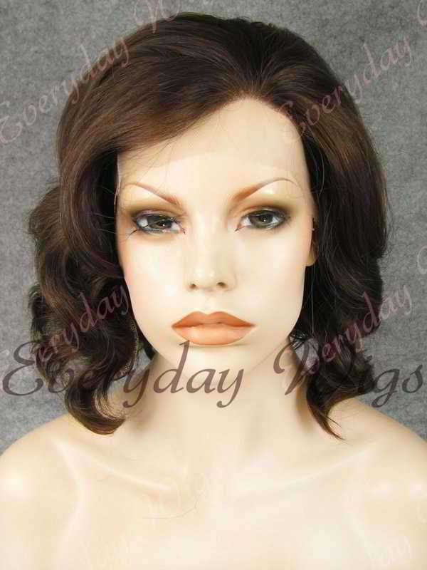 "16"" Shoulder Length Water Wave Darkest Brown Synthetic Lace Front Wig- edw331"