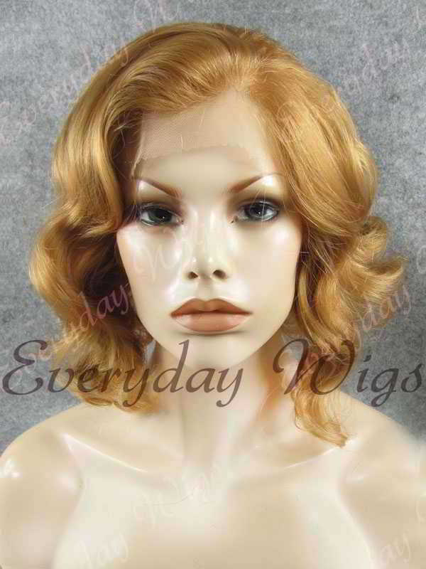 "16"" Shoulder Length Water Wave Dark Honey Blonde Synthetic Lace Front Wig- edw333"
