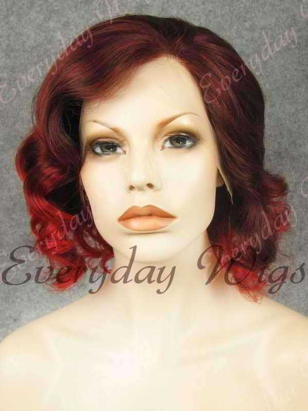 "14"" Shoulder Length Water Wave Red Ombre Synthetic Lace Front Wig- edw334"