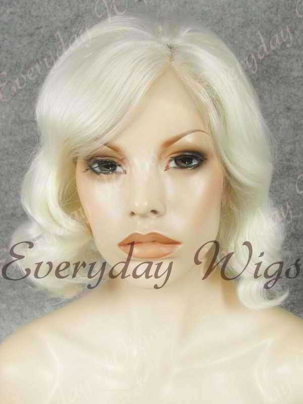 "16"" Shoulder Length Water Wave White Synthetic Lace Front Wig- edw336"
