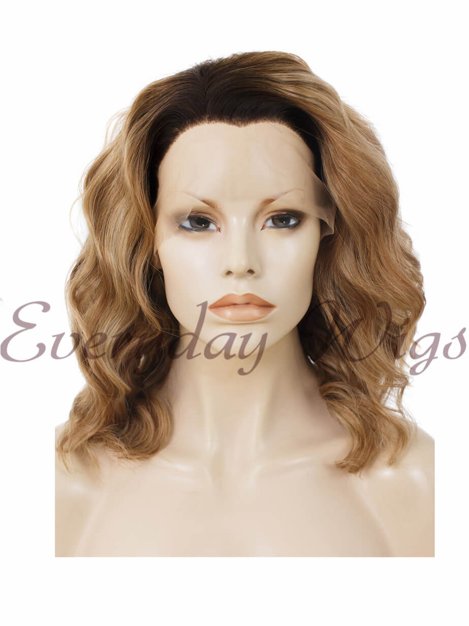 "14"" Water Wave Pink Synthetic Lace Front Wig- edw338"