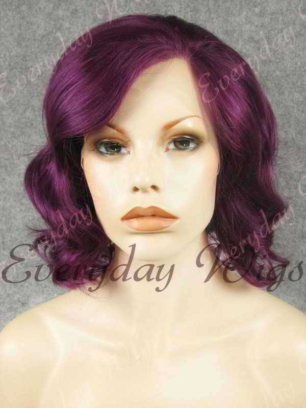"16"" Shoulder Length Water Wave Purple Synthetic Lace Front Wig- edw340"