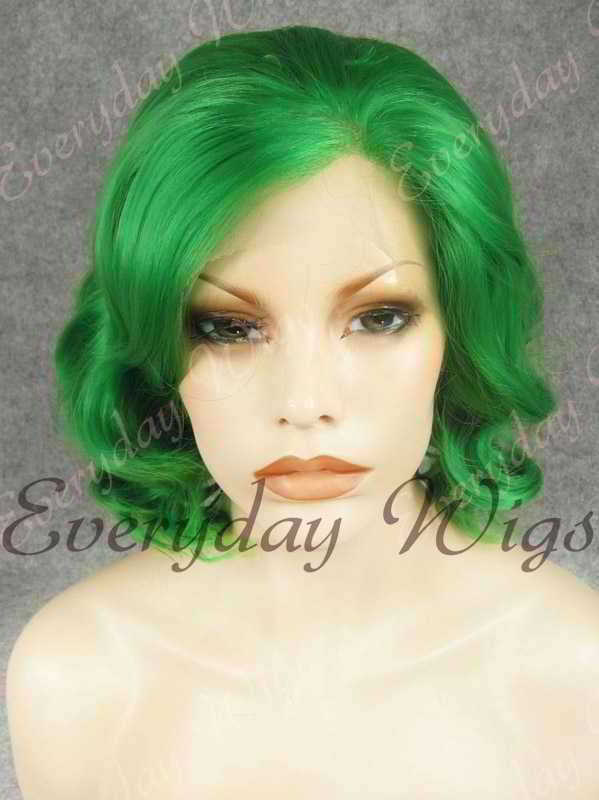 "14"" Shoulder Length Water Wave Green Synthetic Lace Front Wig- edw344"