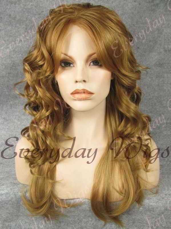 "24"" Chestnut Brown Curly Synthetic Lace Front Wig- edw345"
