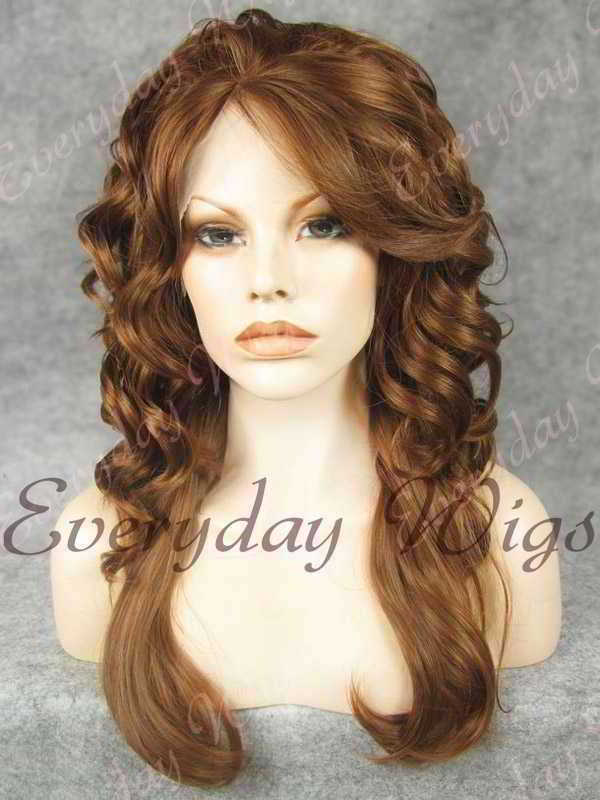 "24"" Medium Brown Curly Synthetic Lace Front Wig- edw346"
