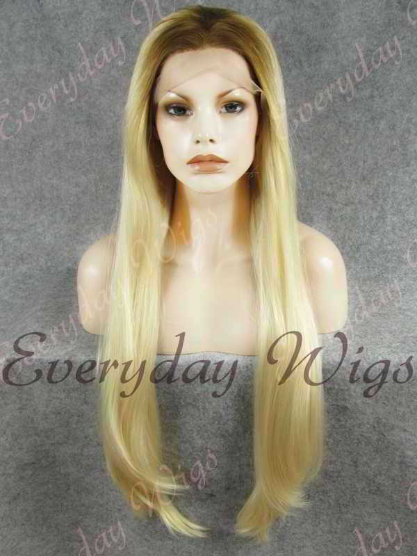 "24"" Brown Ombre Platinum Blonde Straight Synthetic Lace Front Wig- edw348"