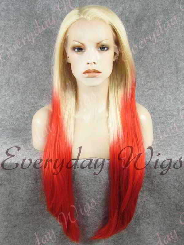 "26"" Blonde Ombre Red Straight Synthetic Lace Front Wig- edw349"