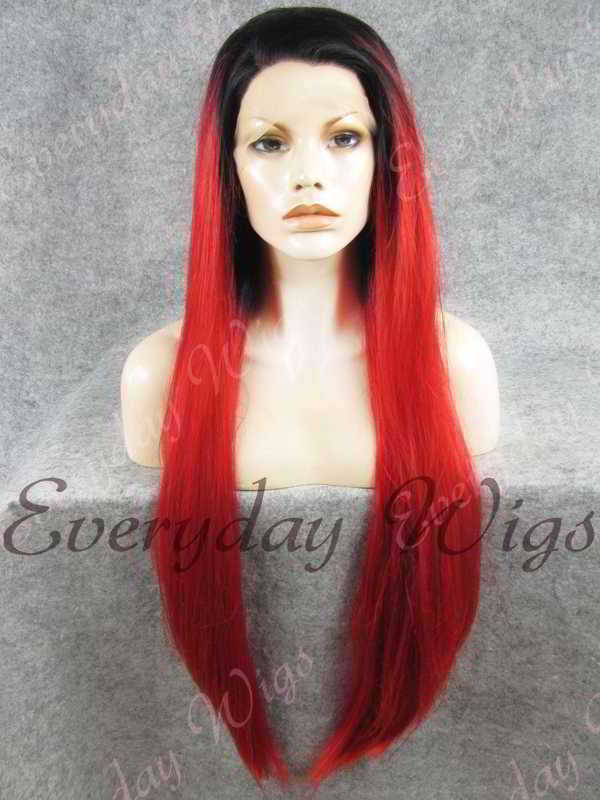 "26"" Black Ombre Red Straight Synthetic Lace Front Wig- edw350"