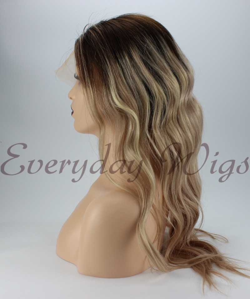 Ombre blonde full lace human hair wigs- edw3504