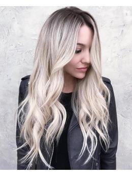Ombre grey blonde full lace human hair wigs- edw3512