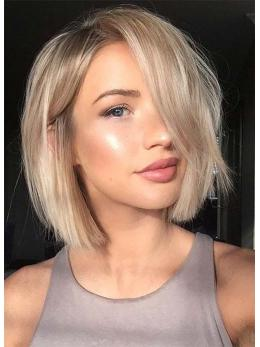 Ombre Blonde Cute Short Bob Full Lace Human Hair Wigs- edw3516