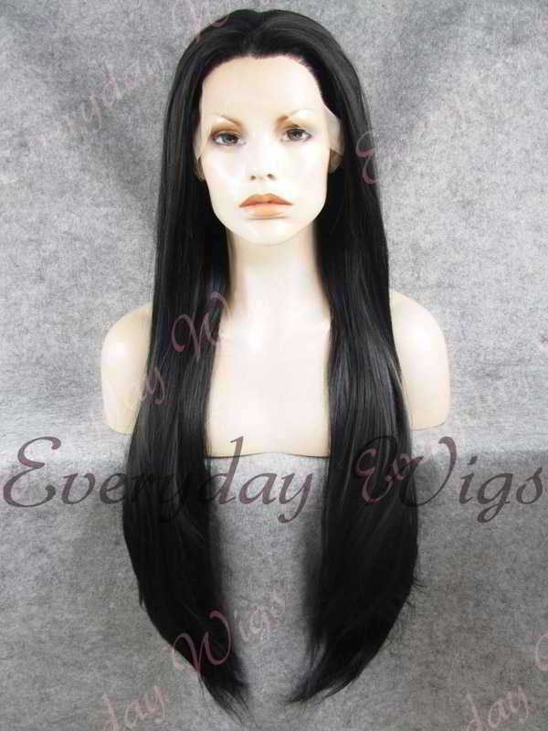 "26"" Jet Black Super Long Straight Synthetic Lace Front Wig- edw351"