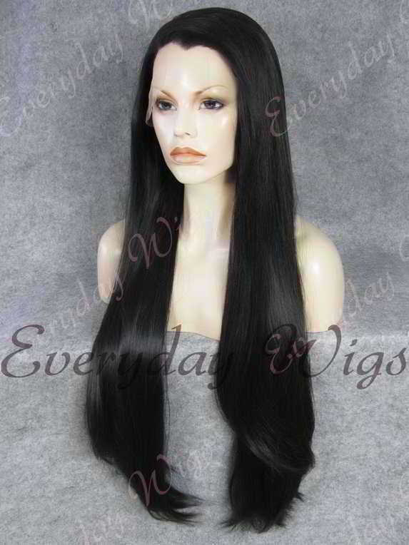 "26"" Off Black Super Long Straight Synthetic Lace Front Wig- edw352"