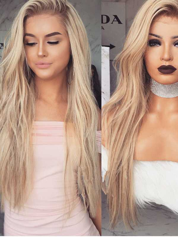 Ombre Blonde Long Human Hair Full Lace Wigs- edw3528 - Click Image to Close