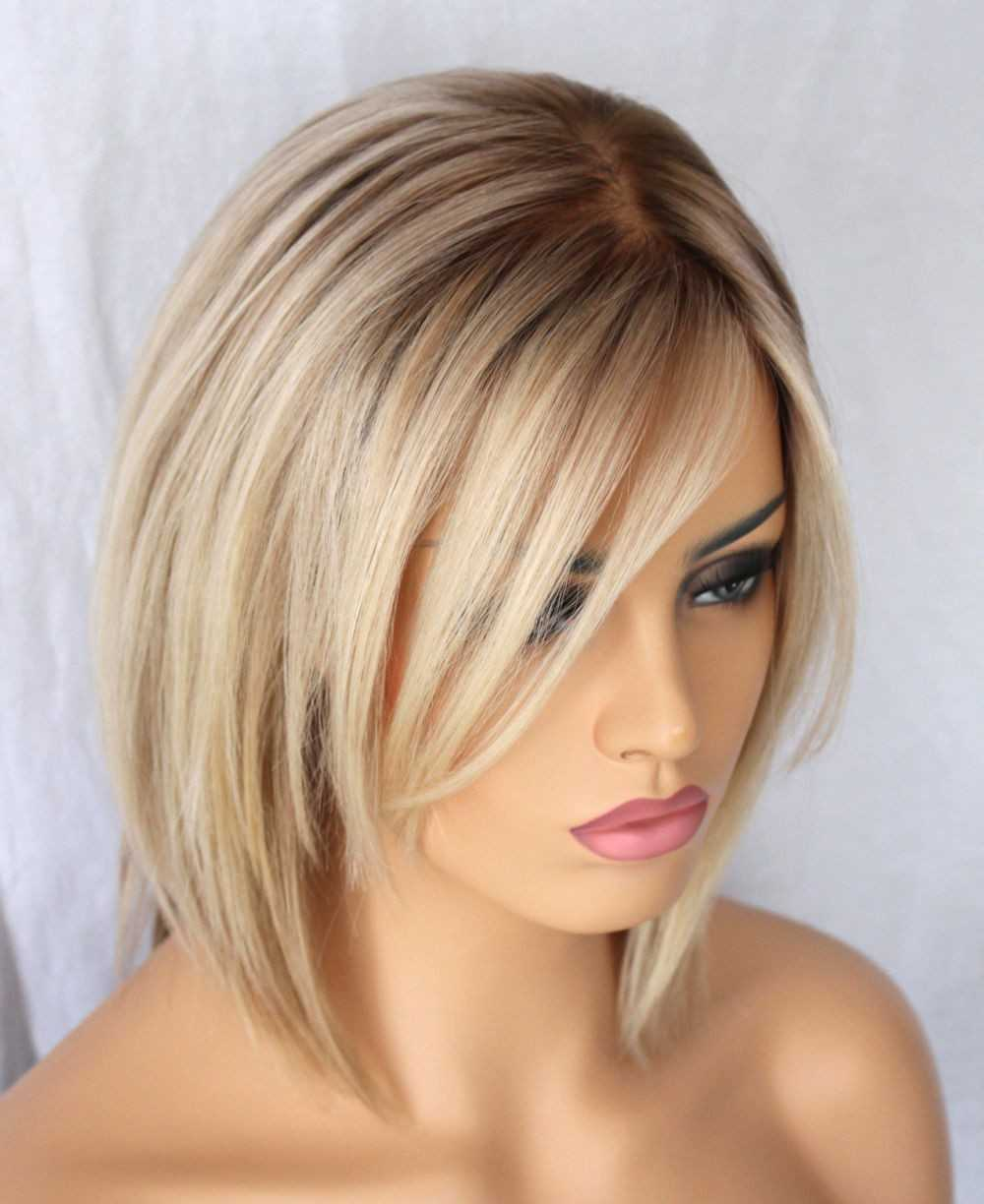 ombre Blonde Short Bob Human Hair full lace - edw3534