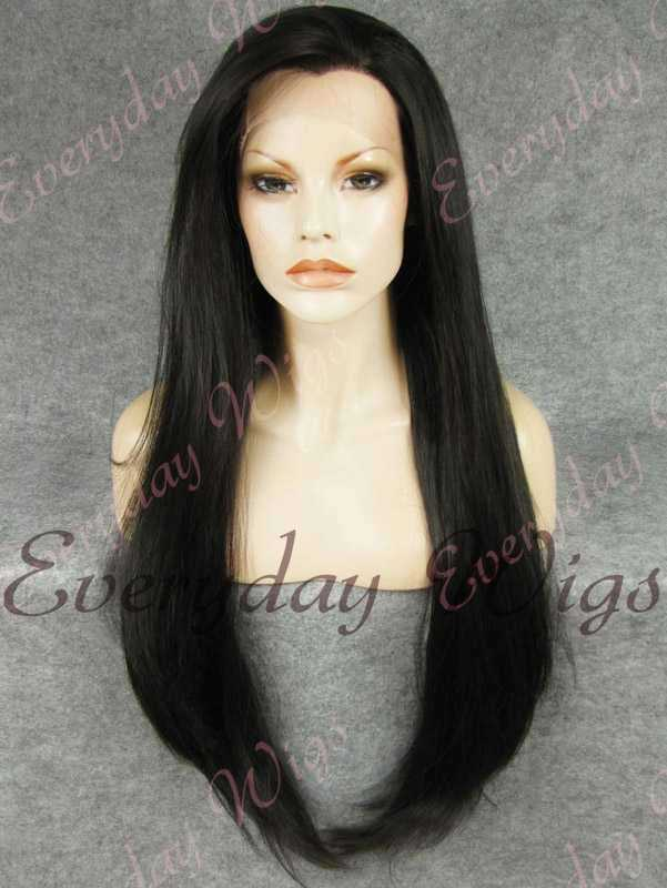 "26"" Natural Black Super Long Straight Synthetic Lace Front Wig- edw353"