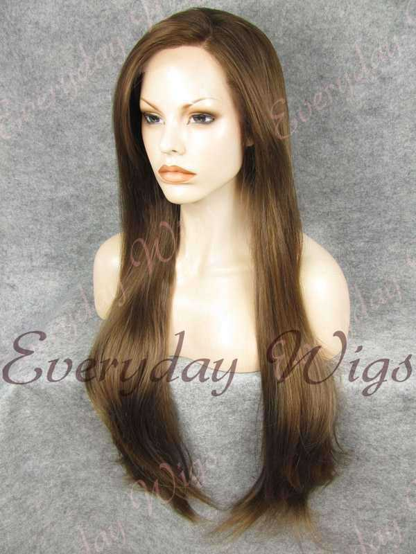 "26"" Medium Dark Brown Super Long Straight Synthetic Wig- edw354"