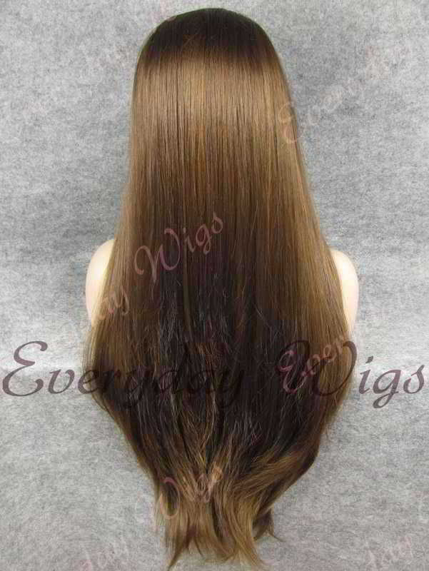 "26"" Medium Dark Brown Super Long Straight Synthetic Lace Front Wig- edw354"