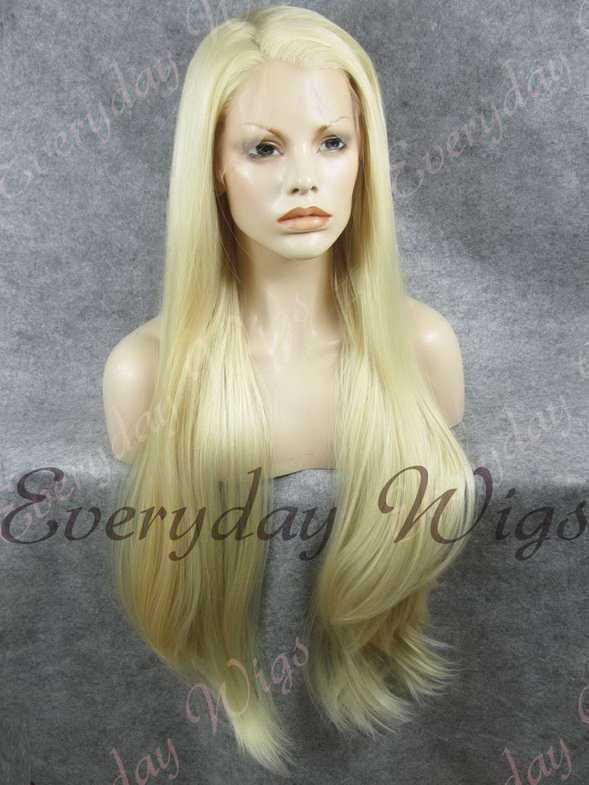 "26"" White Blonde Super Long Straight Synthetic Lace Front Wig- edw356"