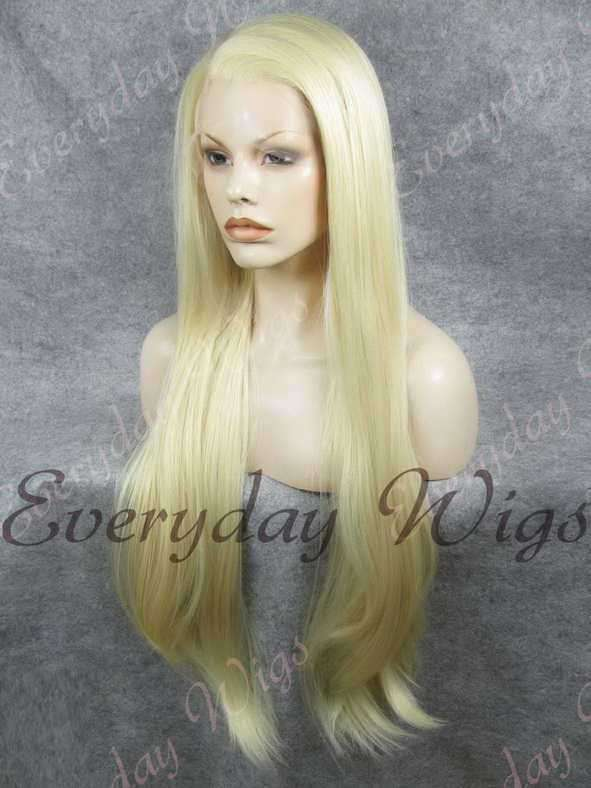 26 White Blonde Super Long Straight Synthetic Lace Front