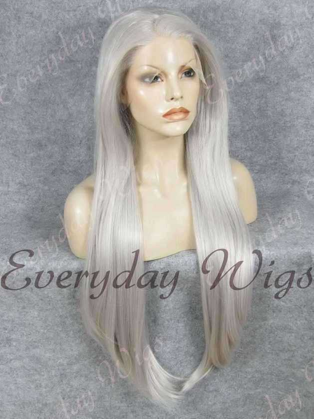 "26"" Grey Super Long Straight Synthetic Lace Front Wig- edw357"