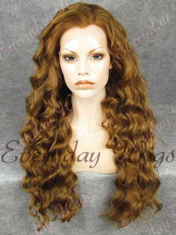 "24"" Chestnut Brown Wavy Synthetic Lace Front Wig- edw358"