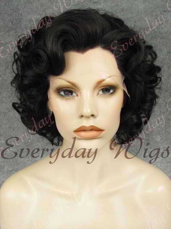 "10"" Jet Black Short Wavy Synthetic Lace Front Wig- edw359"