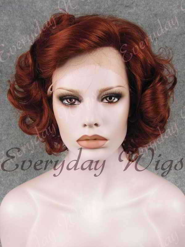 "10"" Light Auburn Short Wavy Synthetic Lace Front Wig- edw362"