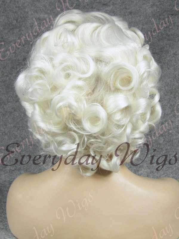 "10"" White Short Wavy Synthetic Lace Front Wig- edw364"