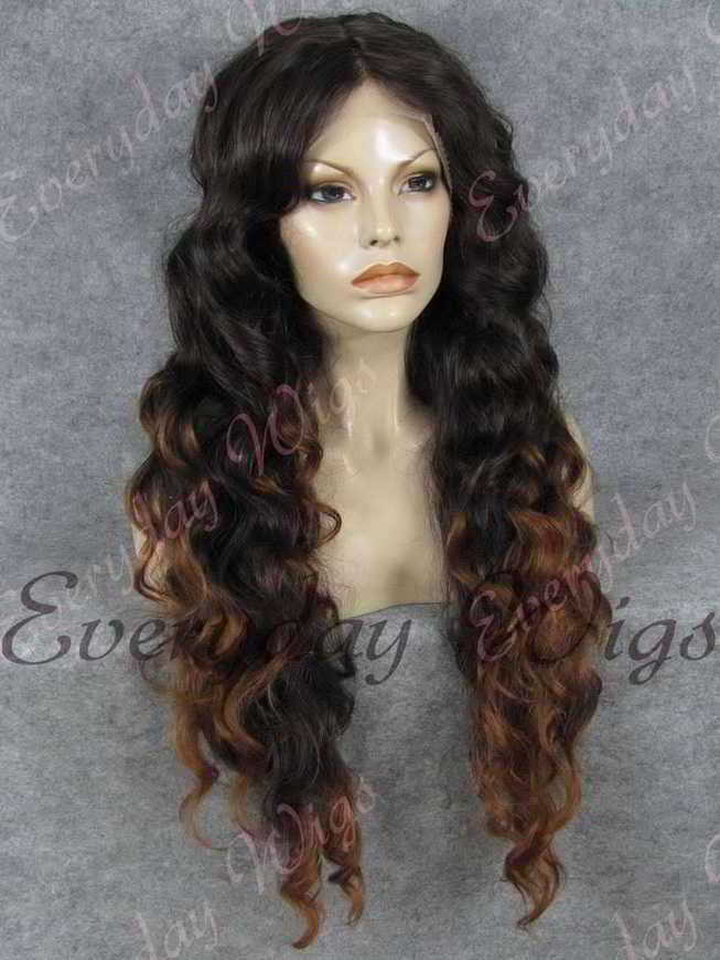 "26"" Brown Ombre Long Body Wave Synthetic Lace Front Wig - edw376"
