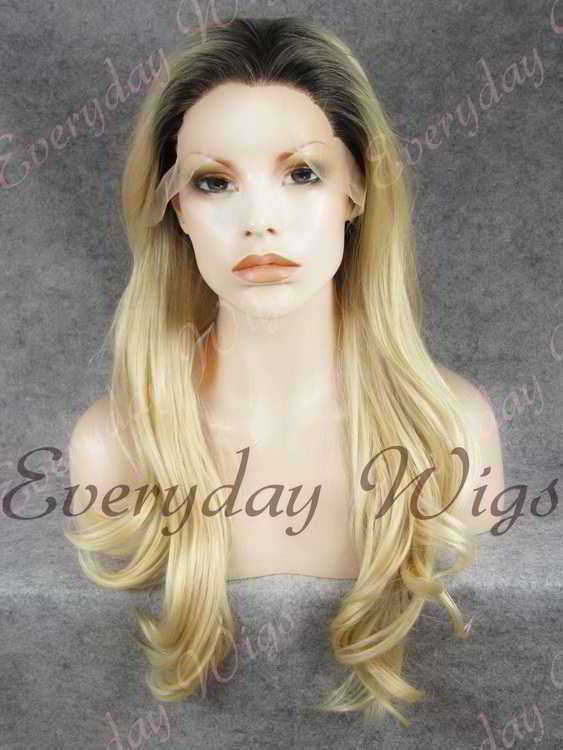 "24"" Black Ombre Blonde Wavy Synthetic Lace Front Wig - edw379"