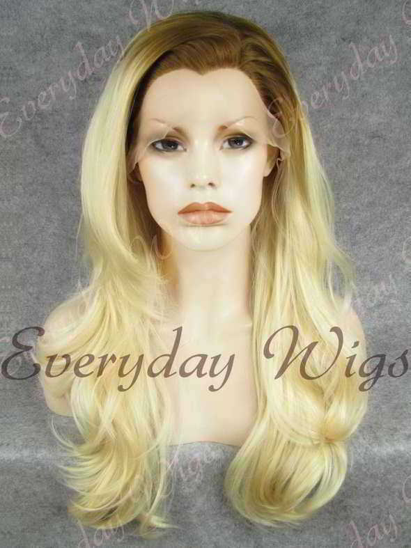 "24"" Brown Ombre Blonde Wavy Synthetic Lace Front Wig - edw380"
