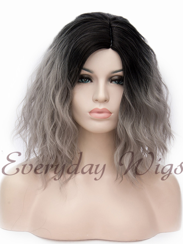 "14"" Short Ombre Wavy cosplay Wefted Cap Wig(Multi-Color) - edw4000"
