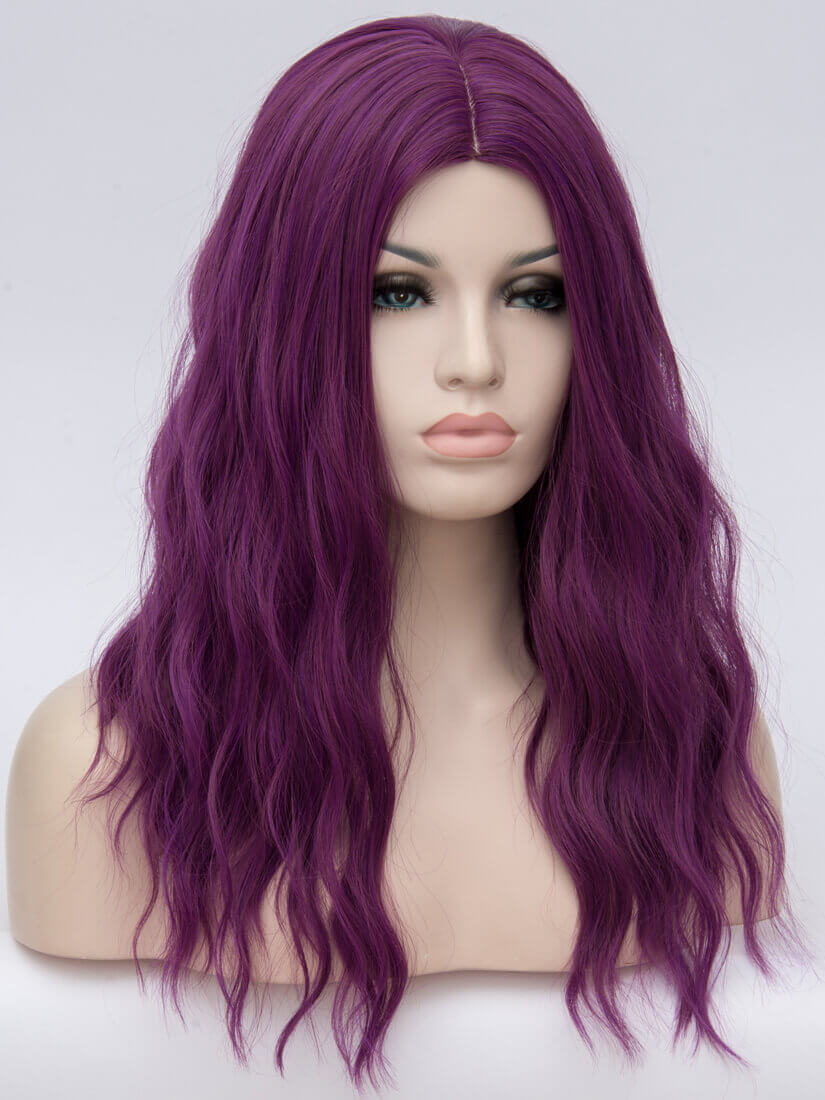 "18"" Purple Wavy Wefted Cap Wig-edw4002"