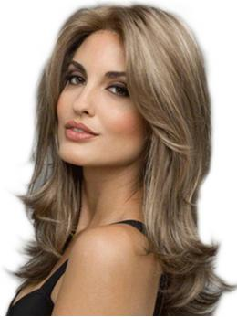 "22"" Brown Wavy Highlight Wefted Cap Wig-edw4004"