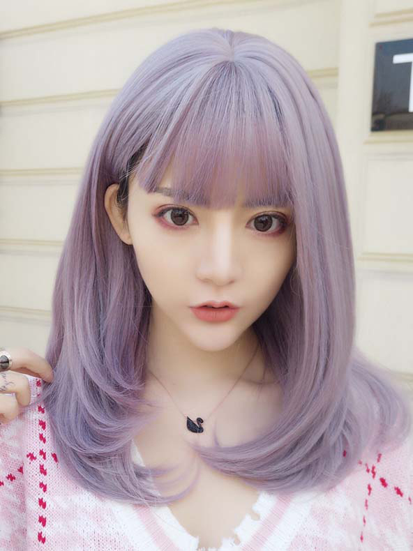 "26"" long Lavender Wavy cosplay Wefted Cap Wig- edw4005"
