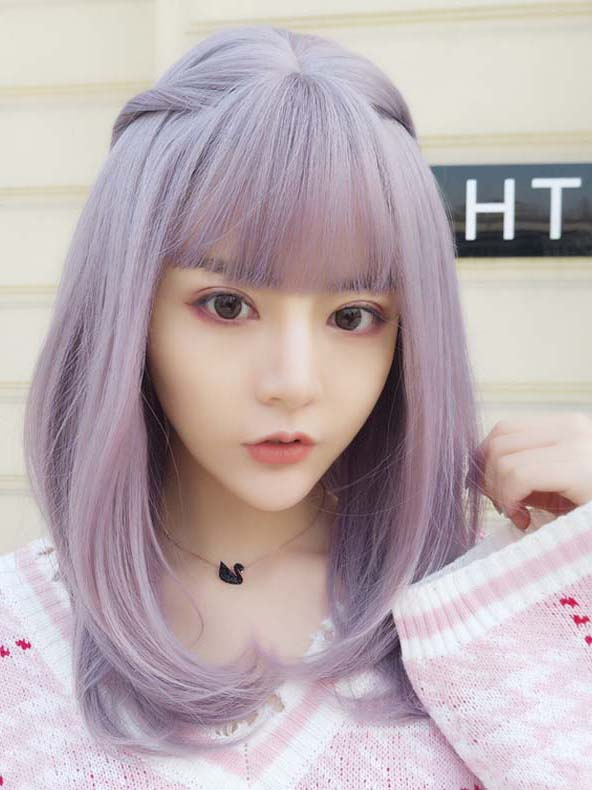 "18"" Purple mixed Straight Wefted Cap Wig with bangs - edw4005"