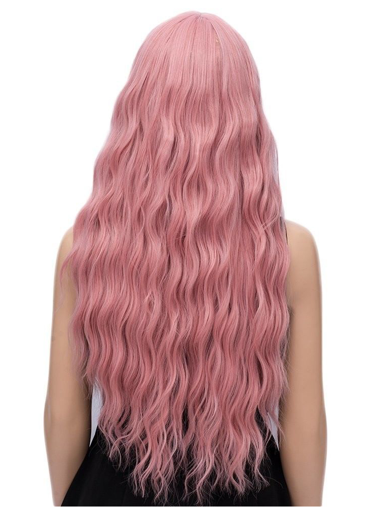 "26"" long Pink Wefted Cap Wigs with bangs- edw4008"