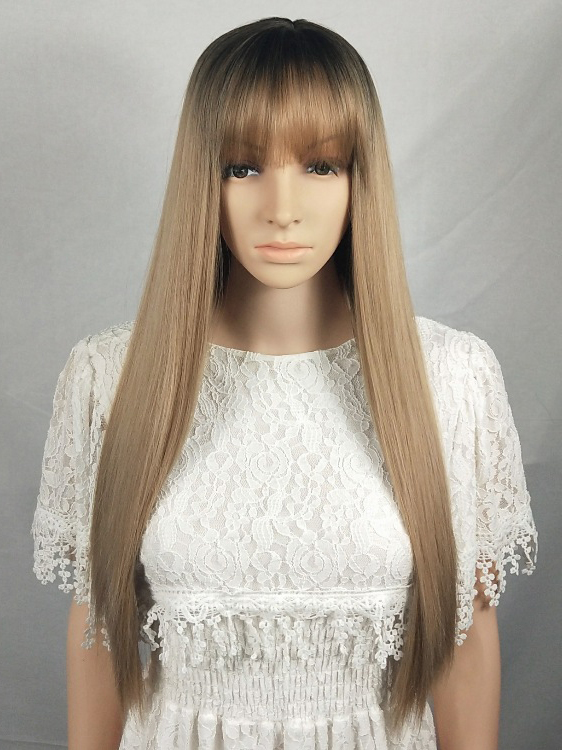 "24"" Ombre Blonde Wefted Cap Synthetic Wig with bangs-edw4016"