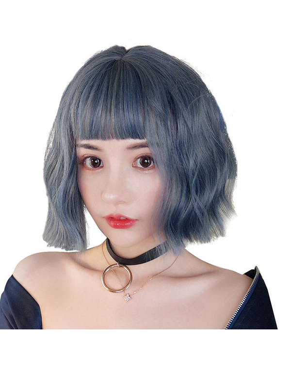 "12"" Short Blue Mixed Grey Wefted Cap Wigs- edw4018"