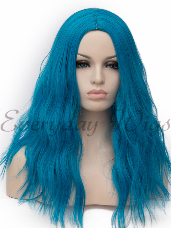 "18"" Teal Wavy Wefted Cap Cosplay Wigs- edw4026"