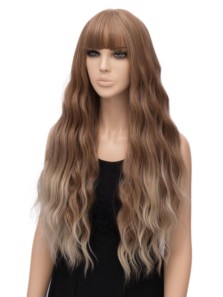 "28"" Ombre Light Blonde Wigs with Bangs Synthetic Wigs- edw4029"