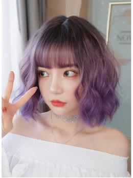 "14""Ombre Purple Short Wavy Wefted Cap Wig- edw4033"