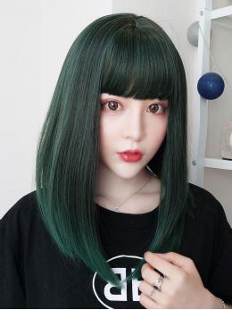 "16"" Green Mixed Wefted Cap Synthetic Wig with bangs- edw4035"