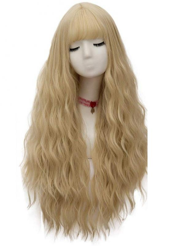 "24"" long Blonde Wavy cosplay Wefted Cap Wig- edw4041"